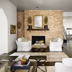 White Washed Brick Corner Fireplace
