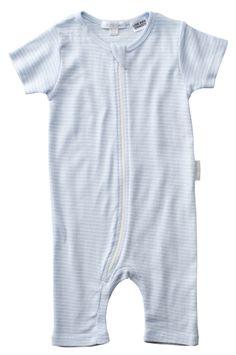Pure Baby Tiny Blue Stripe Zip Grow Suit $29.95 www.organicbabe.com.au