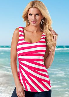 RED & WHITE Striped layered tank from VENUS available in sizes S-XL