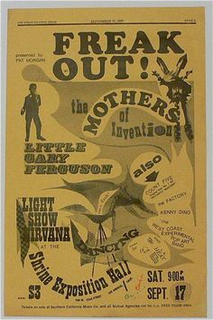 Frank Zappa & The Mothers - West Coast Pop Art Exp. Band - 1966 Freak Out Concert Poster - Recordmecca