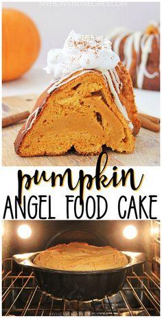 Pumpkin Angel Food Cake- fall dessert to make! Pumpkin cake to enjoy. Potluck new idea. Recipe Pumpkin Angel Food Cake- fall dessert to make! Pumpkin cake to enjoy. Potluck new idea. Dessert Cake Recipes, Desserts To Make, Frosting Recipes, Thanksgiving Desserts, Fall Desserts, Thanksgiving Ideas, Holiday Ideas, Pumpkin Recipes, Fall Recipes
