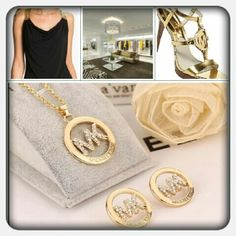 """New! Luxury Brand Jewelry Set Beautiful Gold Plated MK Set! Excellent AA Quality made of gold plated alloy and clear cut rhinestone crystals. Necklace is 18""""  Pendant from bail to bottom is 1 1/2"""" Earrings 7/8"""" in circumference.  GREAT STOCKING STUFFER! {Price reflects Authenticity} Jewelry Necklaces"""
