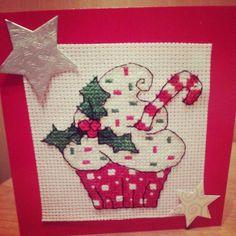 cupcake cross stitch christmas card