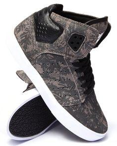 Supra - Atom Grey Suede Tonal Leaf Print Sneakers