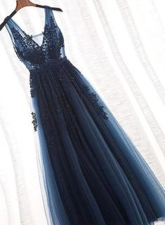 Navy Blue Lace Appliques V Neck See Through Backless Long Prom Dresses Formal Dr. - Navy Blue Lace Appliques V Neck See Through Backless Long Prom Dresses Formal Dress Gowns Source by - Dresses Elegant, Pretty Prom Dresses, V Neck Prom Dresses, Tulle Prom Dress, Dance Dresses, Ball Dresses, Homecoming Dresses, Bridesmaid Dresses, Dresses Dresses