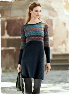 Fair Isle bands in hues of copper, berry, aster and grey pattern the raised waist and sleeves of our ink-hued, A-line tunic-dress. Handloomed of lofty pima (70%) and alpaca (30%) bouclé, with a crewneck and extra-long ribbed cuffs.