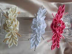 Satin Kanzashi Flower Comb  8 colors to choose from by RosesBowses, $6.75