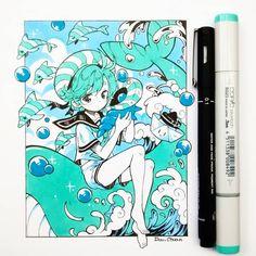 #inktober2018 día 9: peppermint. . . . Un fanart de uno de mis personajes favoritos de #cookierun 🐋🌊🐳🐚 Es tan lindo ;^;)9 Una pregunta, hasta ahora cuál de mis dibujos del inktober les ha gustado más? O//7//O)/ 💖 Anime Drawings Sketches, Anime Sketch, Kawaii Drawings, Cute Drawings, Copic Marker Art, Copic Art, Amazing Drawings, Beautiful Drawings, Fanart