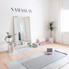 insert us. in this beautiful at-home yoga space ✨  designed by the talented ladies at  Home Yoga Room, Yoga Room Decor, Meditation Room Decor, Yoga Studio Home, Gym Room At Home, Workout Room Home, Yoga Studio Decor, Yoga Studio Design, Zen Room