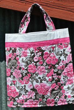 Sparkly Brown & Pink Flower Tote Bag by PolkaDotPouches on Etsy, $25.00 Small Tote Bags, Pouches, Pink Flowers, Diaper Bag, Polka Dots, Reusable Tote Bags, Brown, Pattern, Etsy