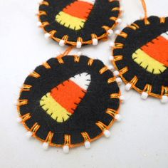 Beaded Halloween Penny Ornaments with Candy Corn Design - Set of 3