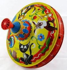 Vintage 1970's Tin Toy Spinning Top