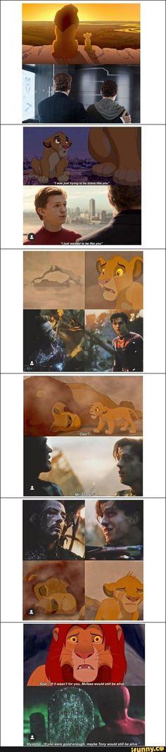 The Lion King – Tom Holland Fanclub - Avengers Endgame Avengers Humor, Marvel Avengers, Hero Marvel, Marvel Quotes, Funny Marvel Memes, Dc Memes, Marvel Comics, Loki Meme, Disney Marvel