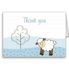 Blue Little Lamb Thank You Note Cards