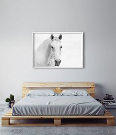 White horse photography art, artwork above bed, Bedroom art above bed, bedroom artwork, bedroom art print, bedroom art black and white, master bedroom art, master bedroom prints. // Little Ink Empire on Etsy