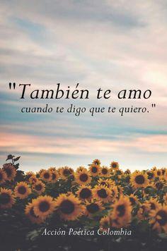 Tambien te amo cuando te digo que te quiero                                                                                                                                                     Más