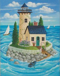 Northern Light by KimsCottageArt Cartoon House, Lighthouse Painting, Cottage Art, Landscape Quilts, Arte Popular, Naive Art, Whimsical Art, Beach Art, Painting For Kids