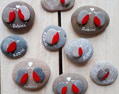 Robin pebble gift, Robins pebble, Painted robins, Robin on a pebble, Pebble art gift, Valentine's Day robins, Birthday robin present, Robins