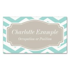 Mint Teal White Tan Chevron Personal Business Card. This is a fully customizable business card and available on several paper types for your needs. You can upload your own image or use the image as is. Just click this template to get started!