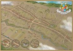 Explore the Fantasy and RPG Cartography collection - the favourite images chosen by jcarlhenderson on DeviantArt. Fantasy Map Maker, Birds Eye View Map, World Of Fantasy, Historical Architecture, Cartography, Map Art, Concept Art, Deviantart, History