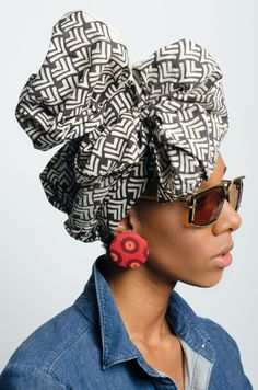 Ethnic Print Head Wrap in Dreamweaver | Styled with new old stock Vintage Cazal 329 c700 Germany and earrings by de Anne Juanita | via @aleapofstyle, Houston Designer Karissa Lindsay