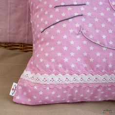 A decorative patchwork pillowcase. The pillow forms the head of a friendly cat with purple lace bows on the ears. It is the perfect bedroom decoration and this soft kitty can become a kid's best friend. Patchwork Pillow, Pillow Cases, Sewing Projects, Cotton Fabric, Pillows, Handmade, Vintage, Pink, Hand Made