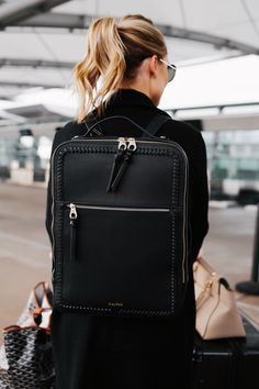 Fashion jackson wearing calpak kaya black backpack airport style my style в Backpack Outfit, Backpack Purse, Black Backpack, Leather Backpack, Fashion Backpack, Camo Purse, Leather Briefcase, Leather Bags, Pink Leather