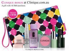 The best of Clinique in one bag available on Clinique.com.au. Free with 60 AUD spend.