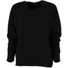 Cashmere Blend Button Back Reversible Sweater in Black found on Polyvore featuring tops, sweaters, loose fitting tops, black triangle top, lightweight black sweater, lambswool sweater and black loose top
