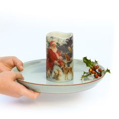 Woodland Animals Christmas Candle – Father Christmas and Friends – Holiday Candle - Locken Holiday Candles, Home Candles, Christmas Candle, Father Christmas, Before Christmas, Scented Candles, Pillar Candles, Greenery Centerpiece, Dekoration