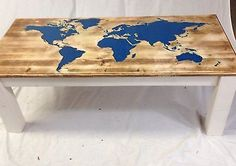 Pine Farmhouse Style Coffee Table With Luminescent World Map Cream & Oak Finish