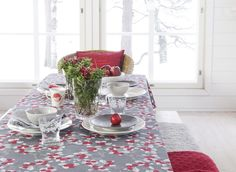 Red lingonberries and twigs of Varpu (Twig) pattern are perfect for Christmas table setting but do not need to be hidden during other seasons either. Familiar theme suits Finnish homes and makes themlook beautiful. Christmas Table Settings, Table Decorations, Interior, Fabric, Home Decor, Tejido, Tela, Decoration Home, Room Decor