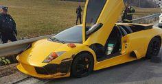 Lamborghini Murcielago Becomes One With The Guardrail In Boston #Accidents #Lamborghini
