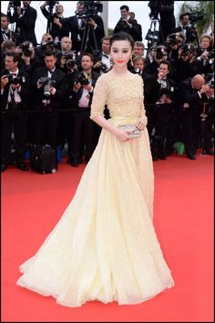 Fan Bingbing wears ELIE SAAB Haute Couture to the 'Jeune & Jolie' premiere at The 66th Annual Cannes Film Festival.  Nice design.not too keen about the colour