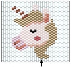 Unicorn brickstitch Weaving by Rose Moustache - Perles & Co Peyote Patterns, Loom Patterns, Beading Patterns, Bracelet Patterns, Pony Bead Crafts, Seed Bead Crafts, Loom Bands, Beading Projects, Beading Tutorials