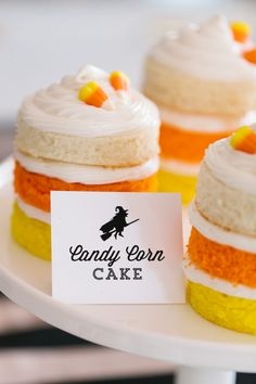 """The TomKat Studio l HGTV Halloween Costume Party l """"Naked"""" cakes are on trend right now, so TomKat Studio created a mini candy corn version of them. Now, it's your turn to be creative and go recreate this cute Candy Corn Cake! #Halloween #CandyCorn #TheTomKatStudio"""