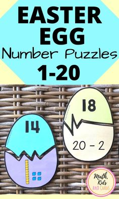 Fun and engaging Easter egg number puzzles for the numbers 1 to 20. Perfect for kindergarten or grade 1 age children. This download contains 3 different sets of puzzles which incorporate ten frames, addition, subtraction and base ten block pictures. These puzzles are self-correcting: two halves of an egg will only fit together if the math is correct! Both color and black and white versions included. #mathcenters #kindergartenmath #grade1math #mathpuzzles #Eastermath #mathkidsandchaos Easter Activities For Kids, Kindergarten Math Activities, Math Resources, 1st Grade Math, Grade 1, Activity Centers, Math Centers, Number Puzzles, Ten Frames