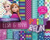 Design pattern ideas. FROZEN Digital Paper Anna Elsa clip art Background Patterns glitter lace purple teal aqua for Party Printables bottle labels favor boxes