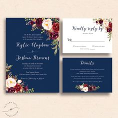 Great Image of Spring Wedding Invitations Spring Wedding Invitations Navy Floral Wedding Invitations Navy Wedding Invite Marsala Modern Wedding Invitation Wording, Wedding Invitation Inserts, Free Wedding Invitation Templates, Burgundy Wedding Invitations, Invitation Suite, Customized Invitations, Floral Invitation, Invitation Ideas, Invites