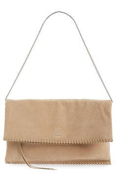 ALLSAINTS 'Fleur de Lis' Suede Foldover Clutch. #allsaints #bags #shoulder bags #clutch #suede #hand bags #