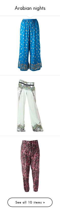 """Arabian nights"" by sofiatindall ❤ liked on Polyvore featuring pants, jeans / pants / leggings, blue, print palazzo pants, blue cotton pants, ruffle pants, cotton pants, wide palazzo pants, pantalon y bottoms"