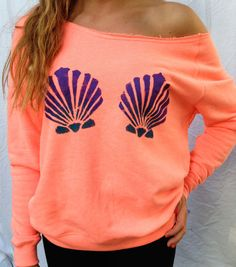 Coral Mermaid Sweatshirt Off The Shoulder Women's Clothing Lounge Wear Summer The Little Mermaid Top Hipster Sweater on Etsy, $30.00