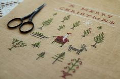 Overdyed floss conversion for Bringing Home the Tree by Pineberry Lane.  Repinned by www.mygrowingtraditions.com