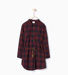 изображение 1 из Рубашка в клетку с поясом от Zara