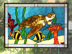 Colorful Sea Turtle Stained Glass Panel on Etsy, $250.00