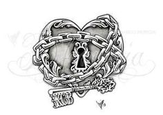Cool take on a key and heart tattoo