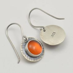natural amber hammered circle sterling silver earrings