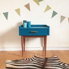 Meuble - table de chevet vintage bleu pétrole