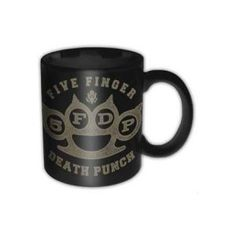 Five Finger Death Punch Brass Knuckle Box Mug - This Five Finger Death Punch Brass Knuckle Box Mug is decorated with the brass knuckles logo and holds your favorite hot drink like a boss.