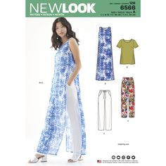 New Look Pattern 6566 Misses' Tunic, Top and Pants Pattern with multilevel threaded whipstitch?This summer ready wardrobe includes knee or tunic length sleeveless tops with side slits and pull-on drawstring pant. New Look 6566 sewing pattern. New Look Patterns, Sewing Patterns Free, Free Sewing, Dress Patterns, Clothes Patterns, Simplicity Sewing Patterns, Shirt Patterns, Pattern Sewing, Coat Patterns